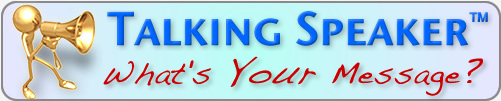 TalkingSpeaker.com What's Your Message? Logo